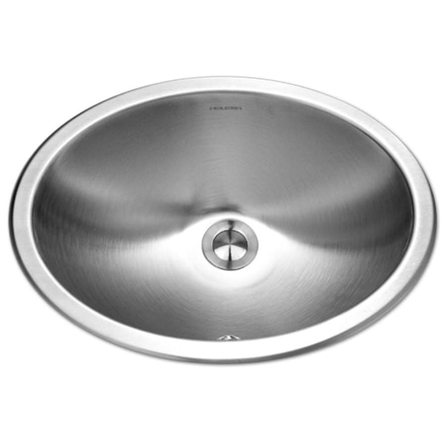 HOUZER Opus Lustrous Satin Stainless Steel Undermount Elliptical Bathroom Sink with Overflow (Drain Included)