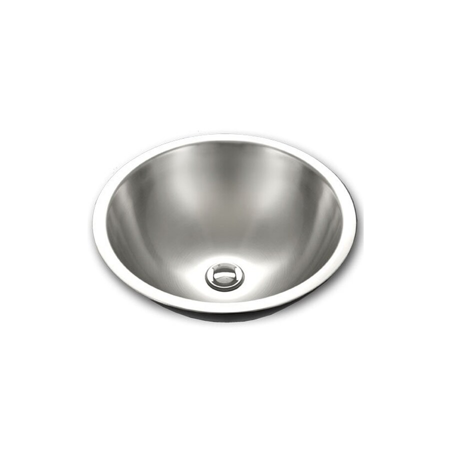 HOUZER Opus Mirror Stainless Steel Drop-In Round Bathroom Sink with Overflow (Drain Included)