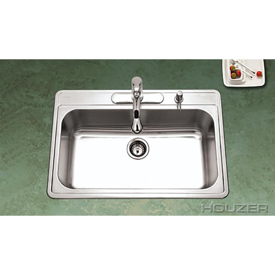 HOUZER Premiere 22-in x 33-in Lustrous Satin Single-Basin Stainless Steel Drop-In 1-Hole Residential Kitchen Sink