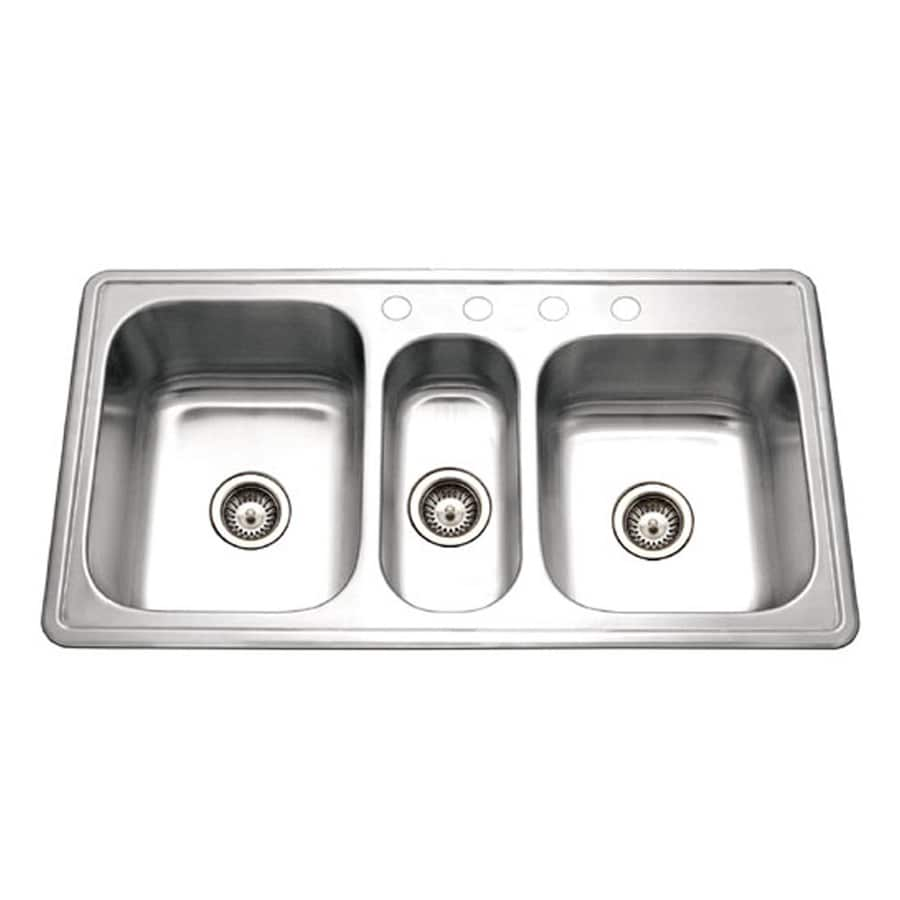 HOUZER Premiere 22-in x 41-in Lustrous Satin Triple-Basin Stainless Steel Drop-In 4-Hole Residential Kitchen Sink