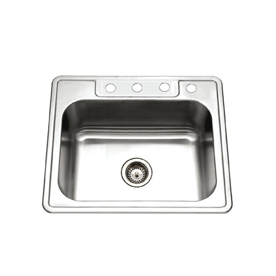 HOUZER Glowtone Builder 22-in x 25-in Lustrous Satin Single-Basin Stainless Steel Drop-In 4-Hole Residential Kitchen Sink