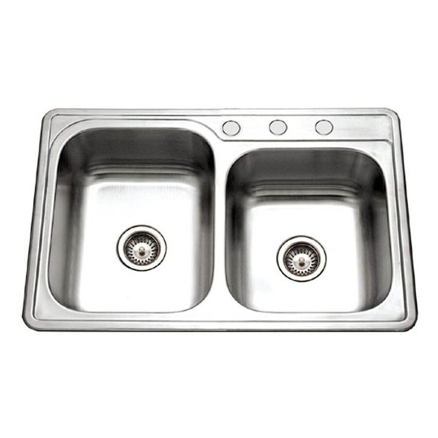 HOUZER Glowtone 22-in x 33-in Lustrous Satin Double-Basin Stainless Steel Drop-In 1-Hole Residential Kitchen Sink