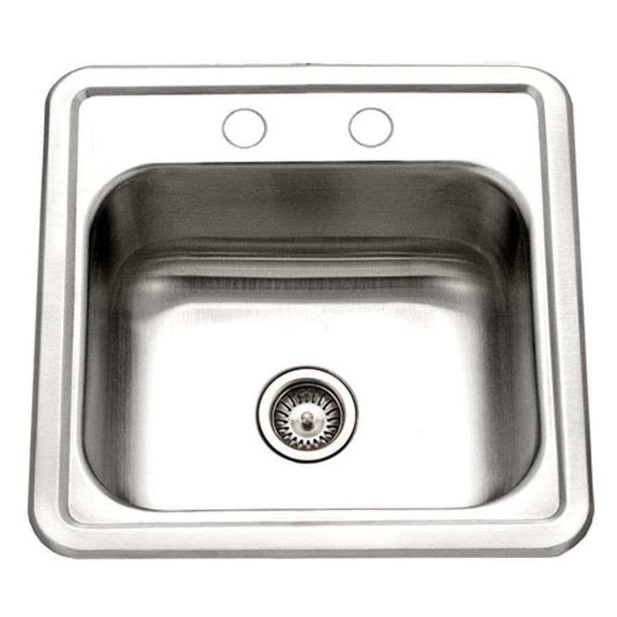 Houzer Stainless Steel Sinks : HOUZER Hospitality Lustrous Satin Single-Basin Stainless Steel Drop-In ...