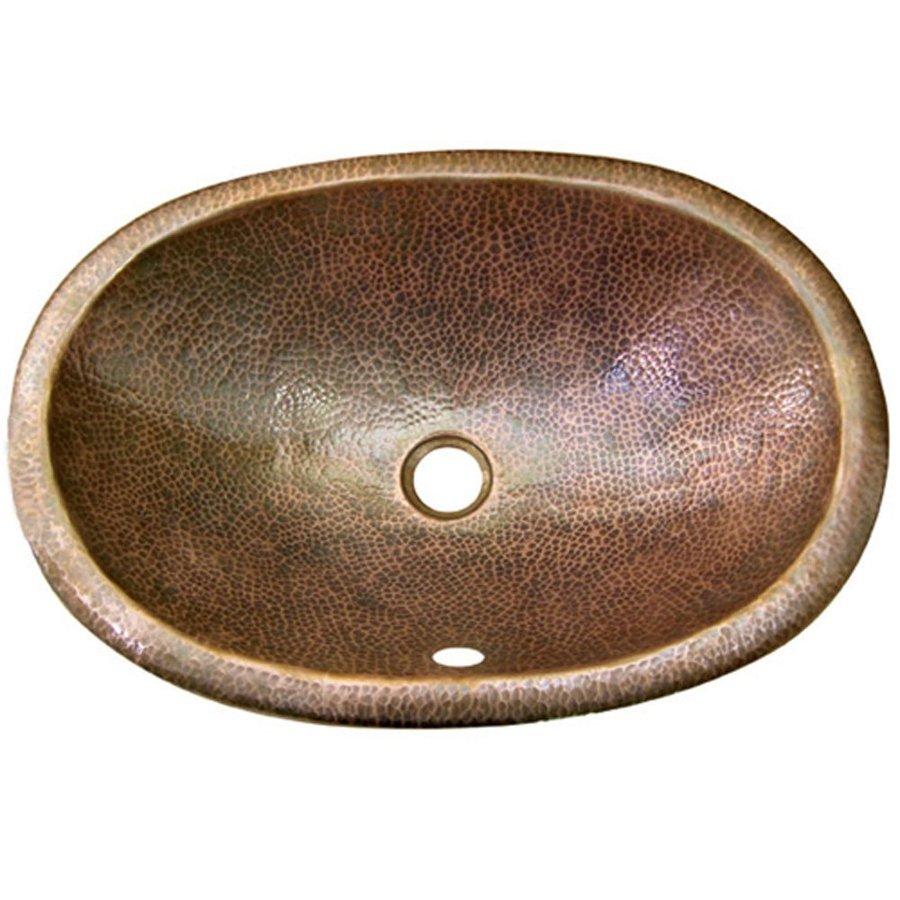HOUZER Hammerwerks Copper Drop-In Elliptical Bathroom Sink with Overflow