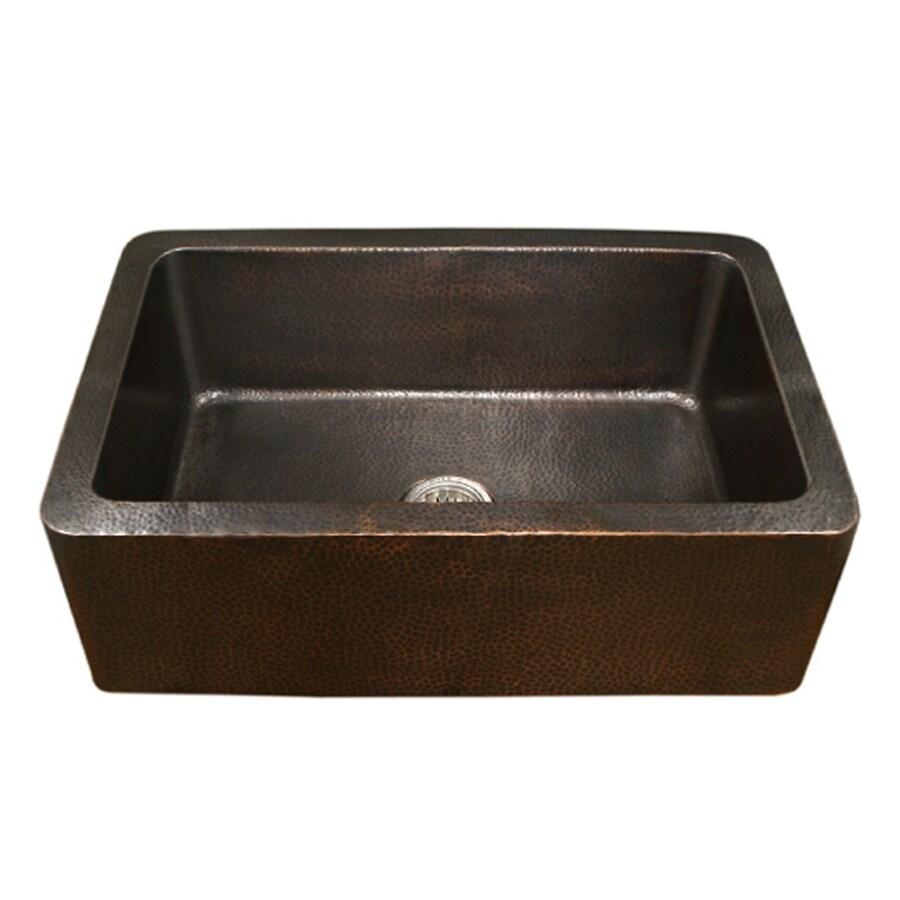HOUZER HammerWerks 22-in x 32-in Antique Copper Single-Basin Copper Apron Front/Farmhouse Residential Kitchen Sink