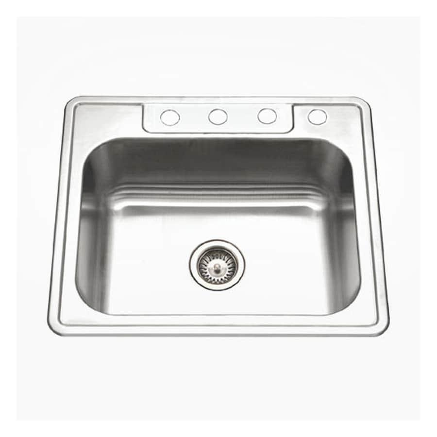 HOUZER Glowtone Ada 22-in x 25-in Lustrous Satin Single-Basin Stainless Steel Drop-In 4-Hole Residential Kitchen Sink