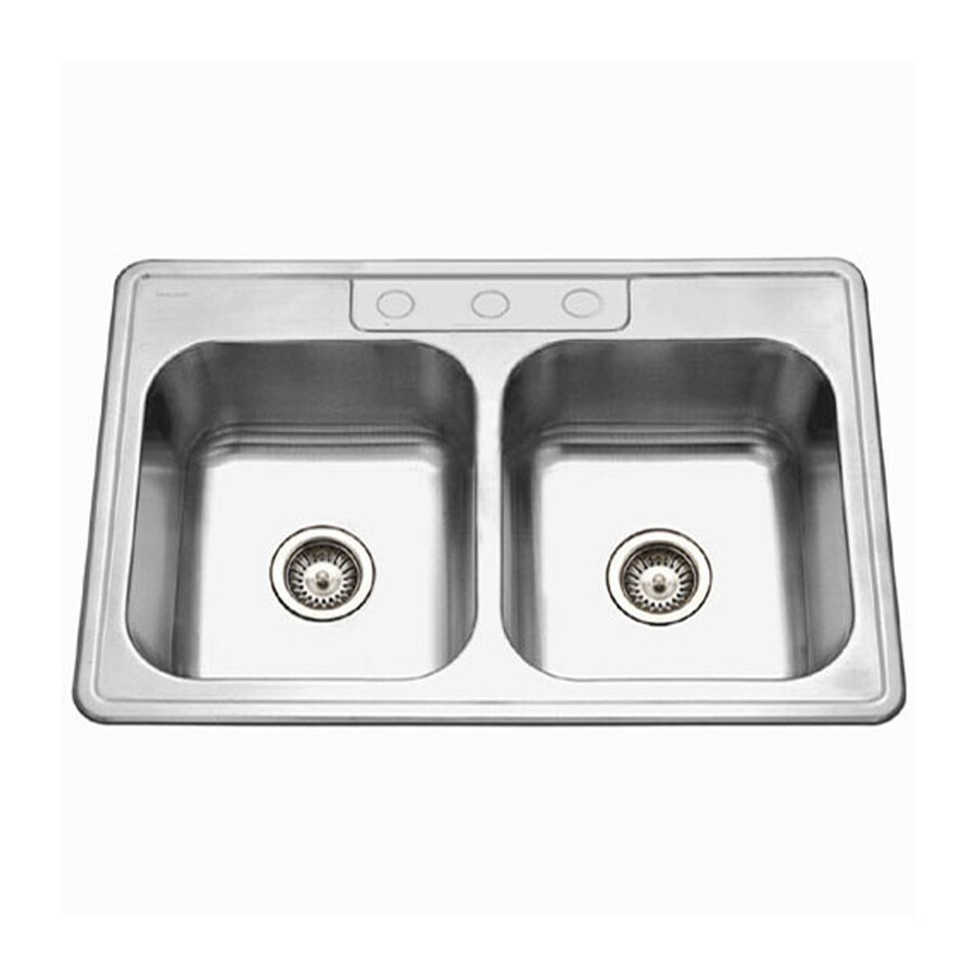 HOUZER Glowtone Ada 22-in x 33-in Lustrous Satin Double-Basin Stainless Steel Drop-In 3-Hole Residential Kitchen Sink
