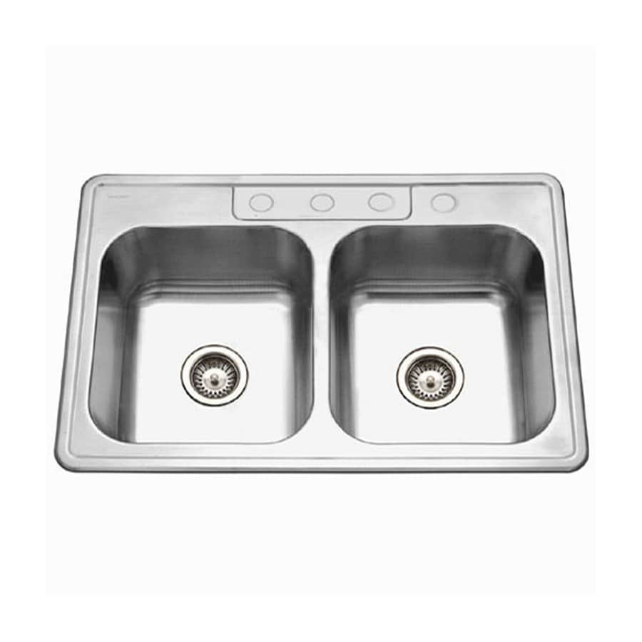 HOUZER Glowtone Ada 22-in x 33-in Lustrous Satin Double-Basin Stainless Steel Drop-In 4-Hole Residential Kitchen Sink