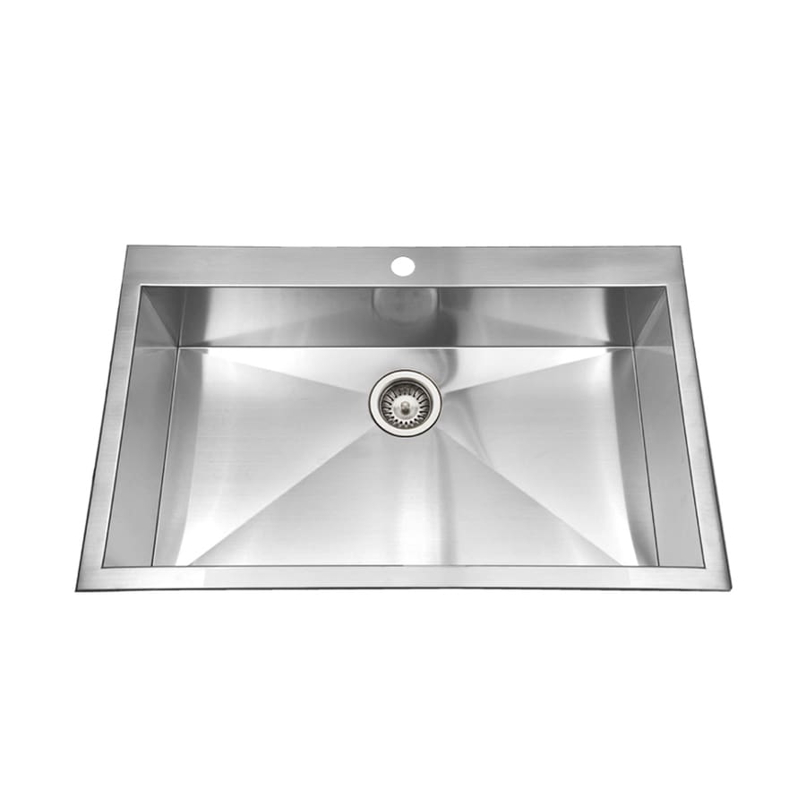 HOUZER Bellus 22-in x 33-in Lustrous Satin Single-Basin Stainless Steel Drop-In 1-Hole Residential Kitchen Sink