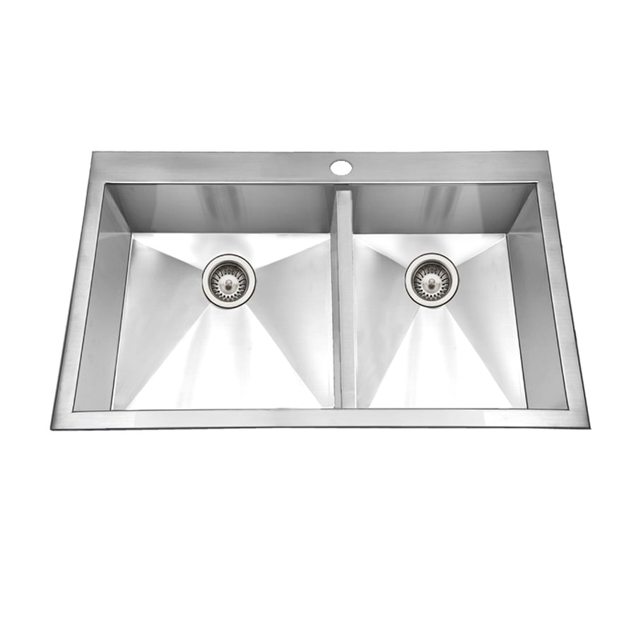 HOUZER Bellus 22-in x 33-in Lustrous Satin Double-Basin Stainless Steel Drop-In 1-Hole Residential Kitchen Sink