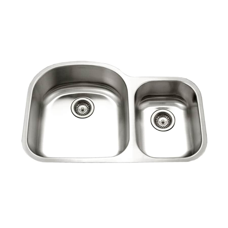 HOUZER Eston 21-in x 32-in Lustrous Satin Double-Basin Stainless Steel Undermount Residential Kitchen Sink
