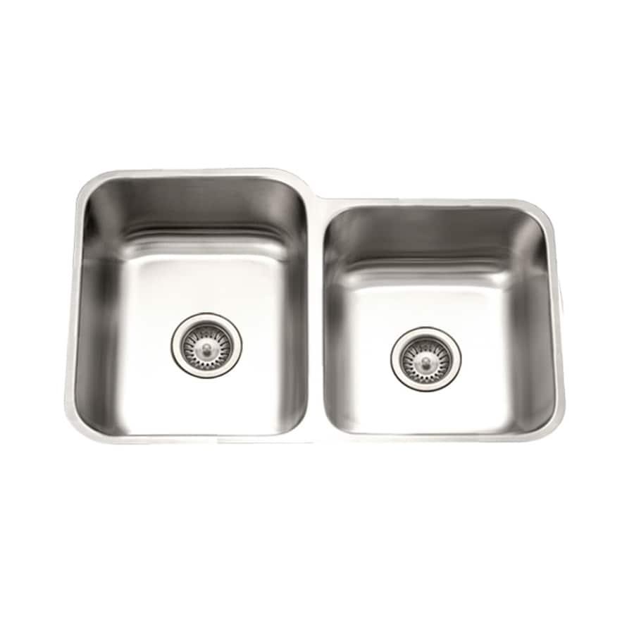 HOUZER Eston 20-in x 31-in Lustrous Satin Double-Basin Stainless Steel Undermount Residential Kitchen Sink
