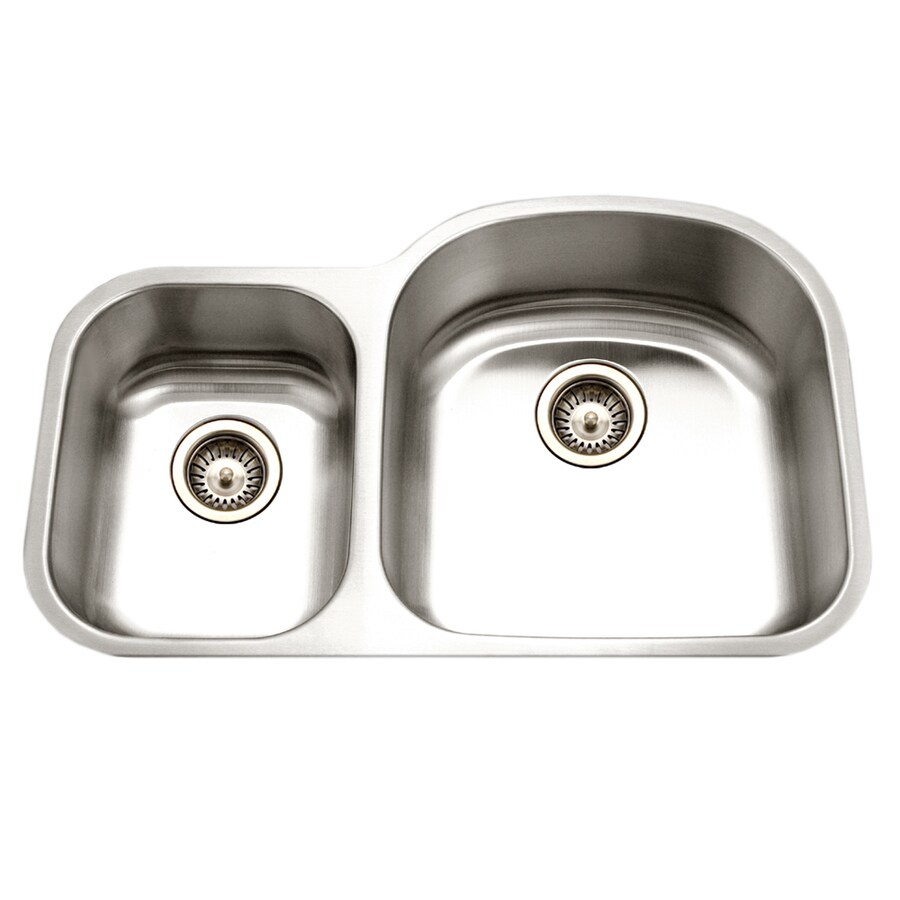 HOUZER Eston 32.19-in x 32.19-in Lustrous Satin Double-Basin Stainless Steel Undermount Residential Kitchen Sink