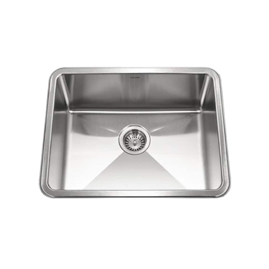 HOUZER Nouvelle 18-in x 23-in Lustrous Satin Single-Basin Stainless Steel Undermount Residential Kitchen Sink