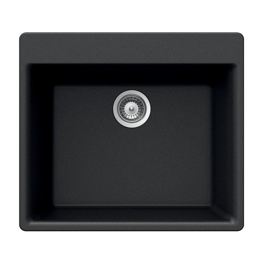 HOUZER 21-in x 24-in Onyx Single-Basin Granite Drop-In 4-Hole Residential Kitchen Sink