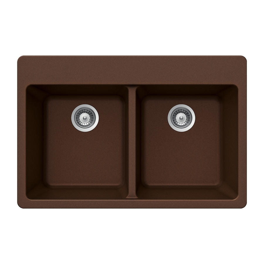 Shop houzer 22 in x 33 in copper double basin granite drop - Copper drop in kitchen sink ...