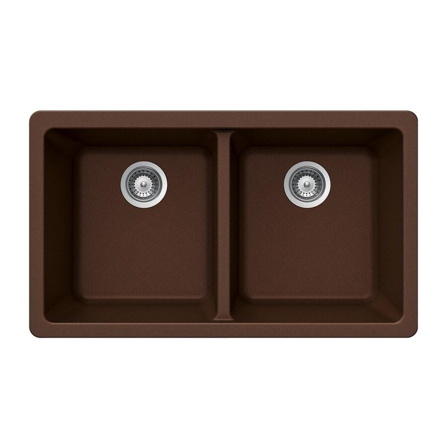 Shop Houzer 19 In X 33 In Copper Double Basin Granite Undermount Residential Kitchen Sink At