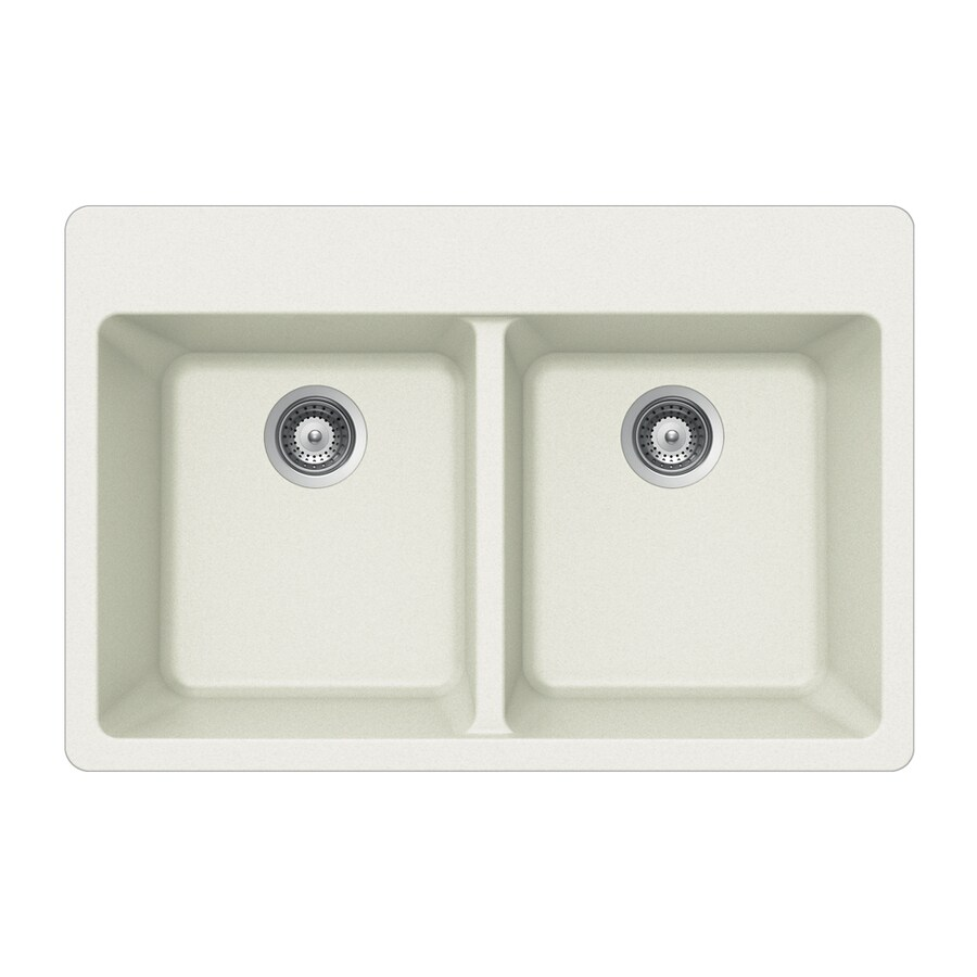 HOUZER 22-in x 33-in Alpina Double-Basin Granite Drop-In 4-Hole Residential Kitchen Sink
