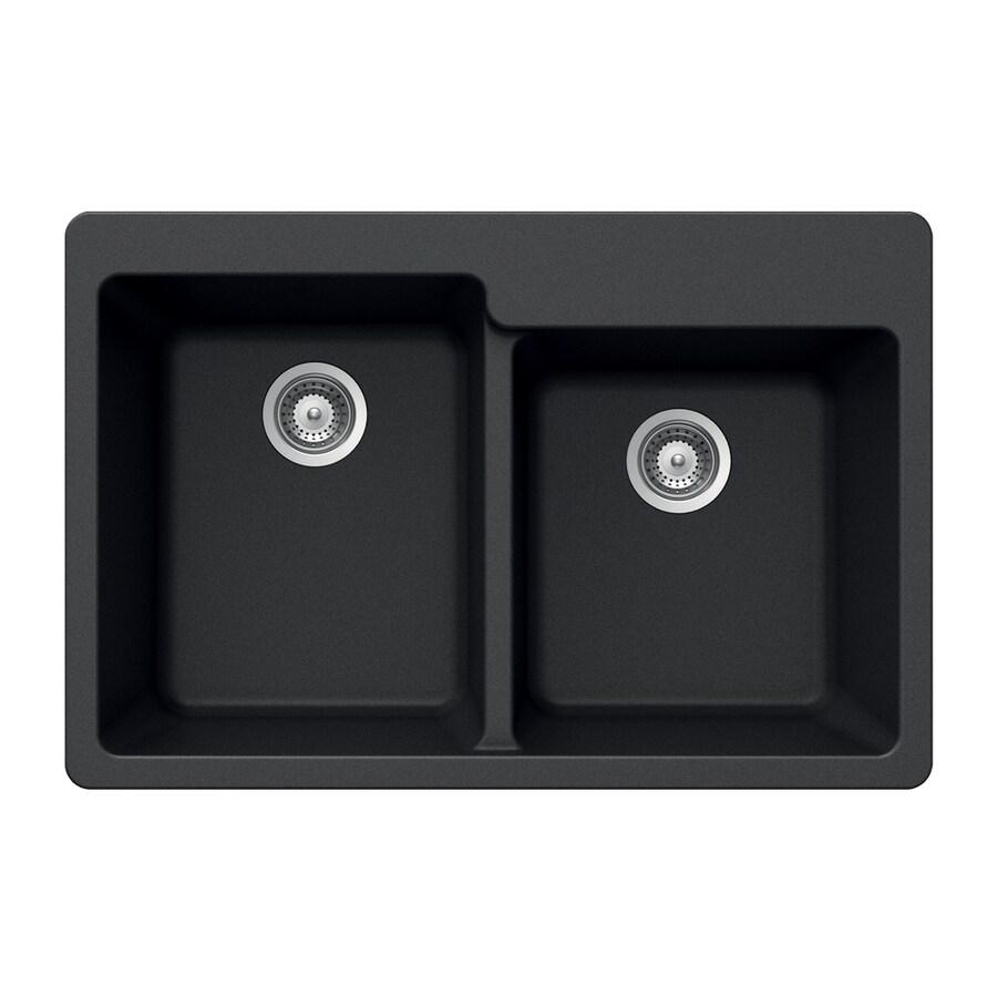 HOUZER 22-in x 33-in Onyx Double-Basin Granite Drop-In 4-Hole Residential Kitchen Sink