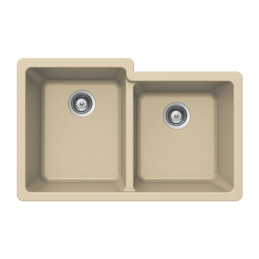 HOUZER 21-in x 33-in Colorado Double-Basin Granite Undermount Residential Kitchen Sink