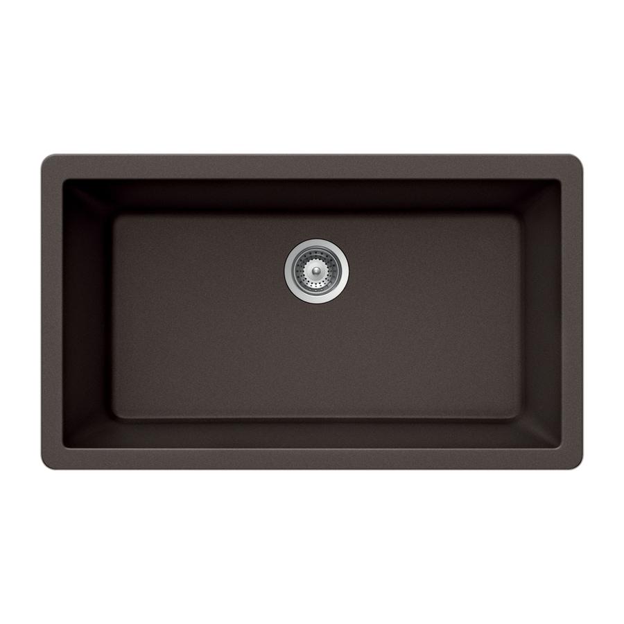 HOUZER 18-in x 33-in Mocha Single-Basin Granite Undermount Residential Kitchen Sink