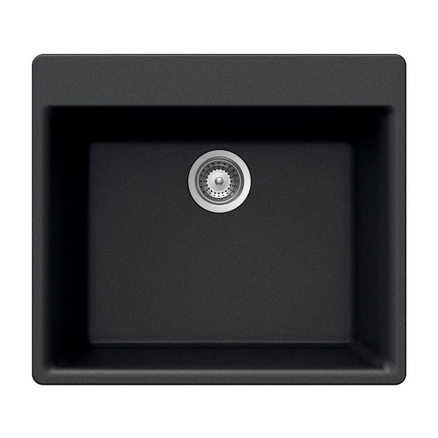 HOUZER 17.75-in x 23.625-in Midnite Single-Basin Granite Drop-in 4-Hole Residential Kitchen Sink
