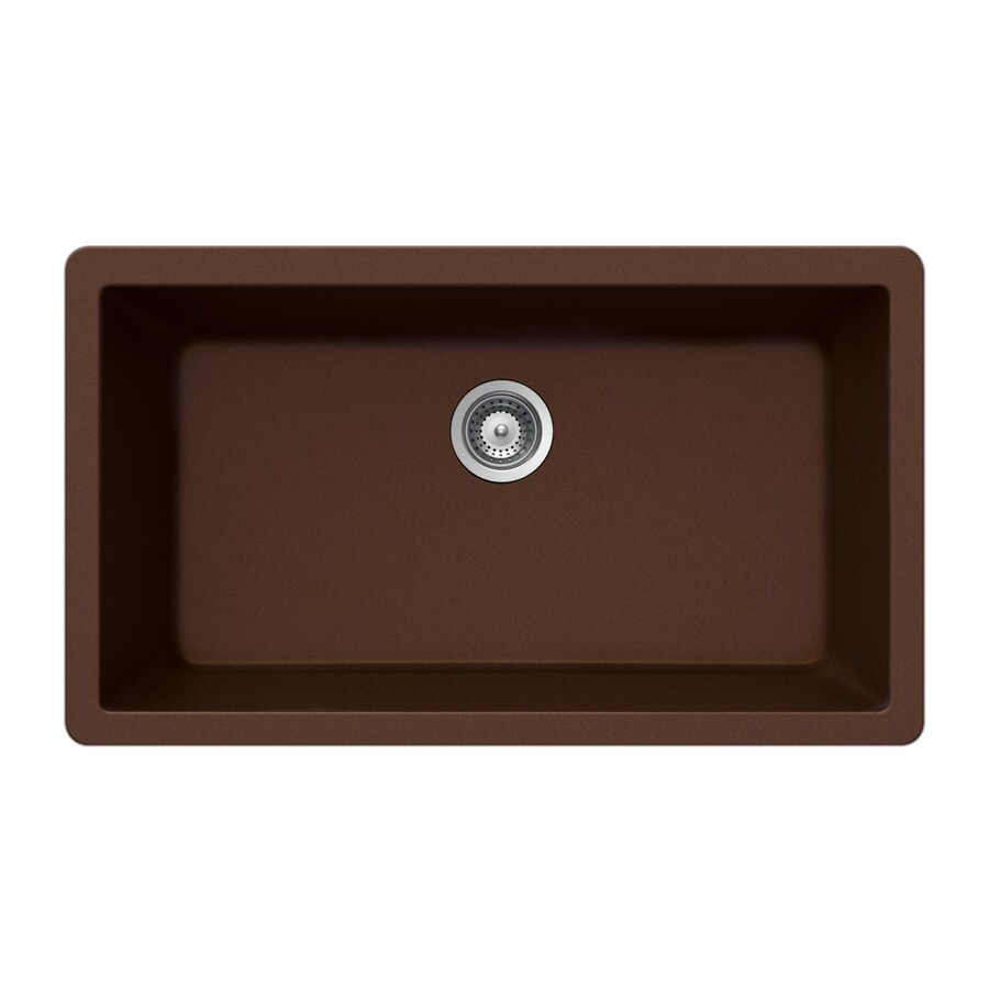 Shop Houzer 18 In X 33 In Copper Single Basin Granite Undermount Residential Kitchen Sink At