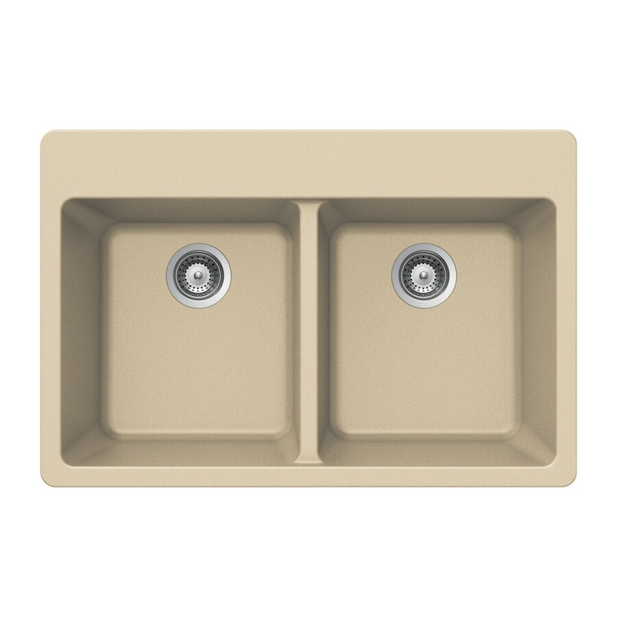 HOUZER 22-in x 33-in Colorado Double-Basin Granite Drop-In 4-Hole Residential Kitchen Sink