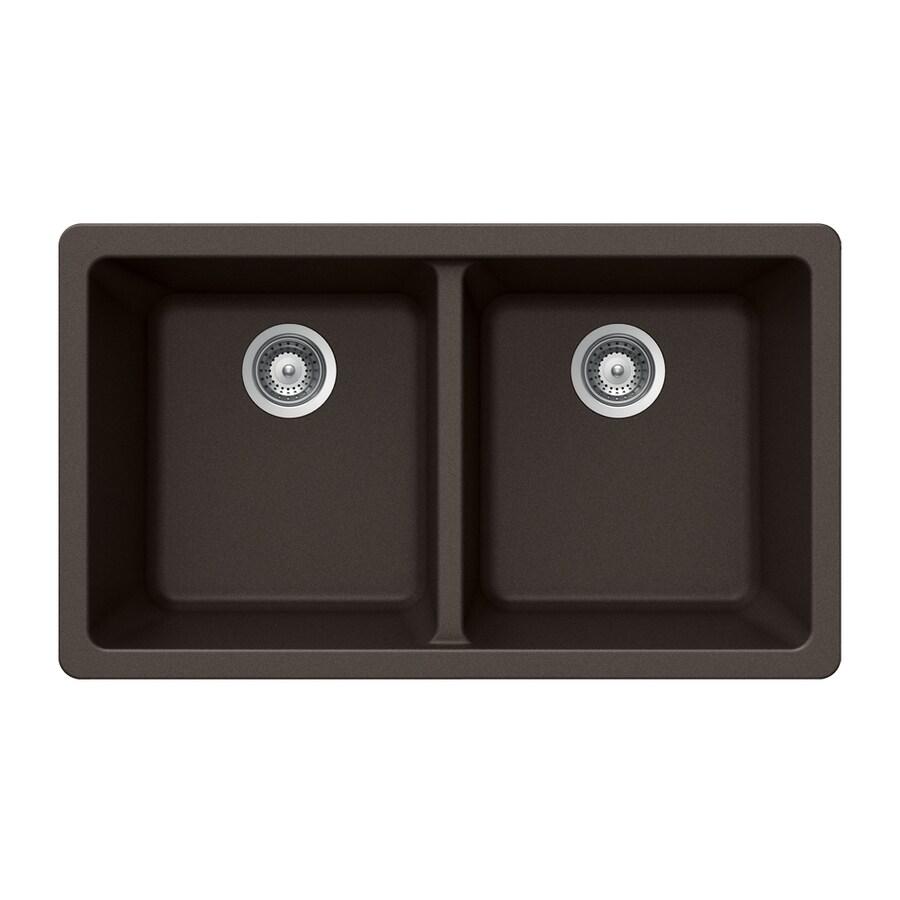 HOUZER 19-in x 33-in Mocha Double-Basin Granite Undermount Residential Kitchen Sink