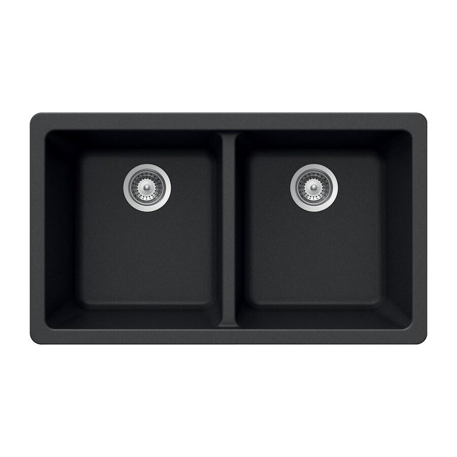 HOUZER 19-in x 33-in Onyx Double-Basin Acrylic Undermount Residential Kitchen Sink