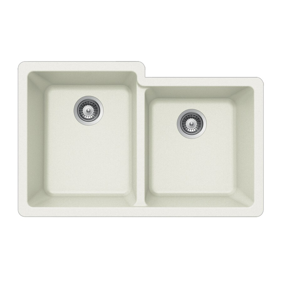 HOUZER 21-in x 33-in Alpina Double-Basin Granite Undermount Residential Kitchen Sink