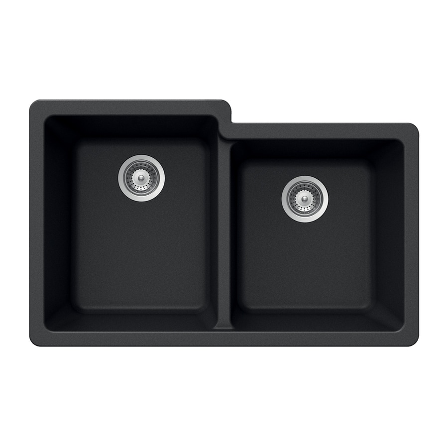 HOUZER 21-in x 33-in Onyx Double-Basin Granite Undermount Residential Kitchen Sink