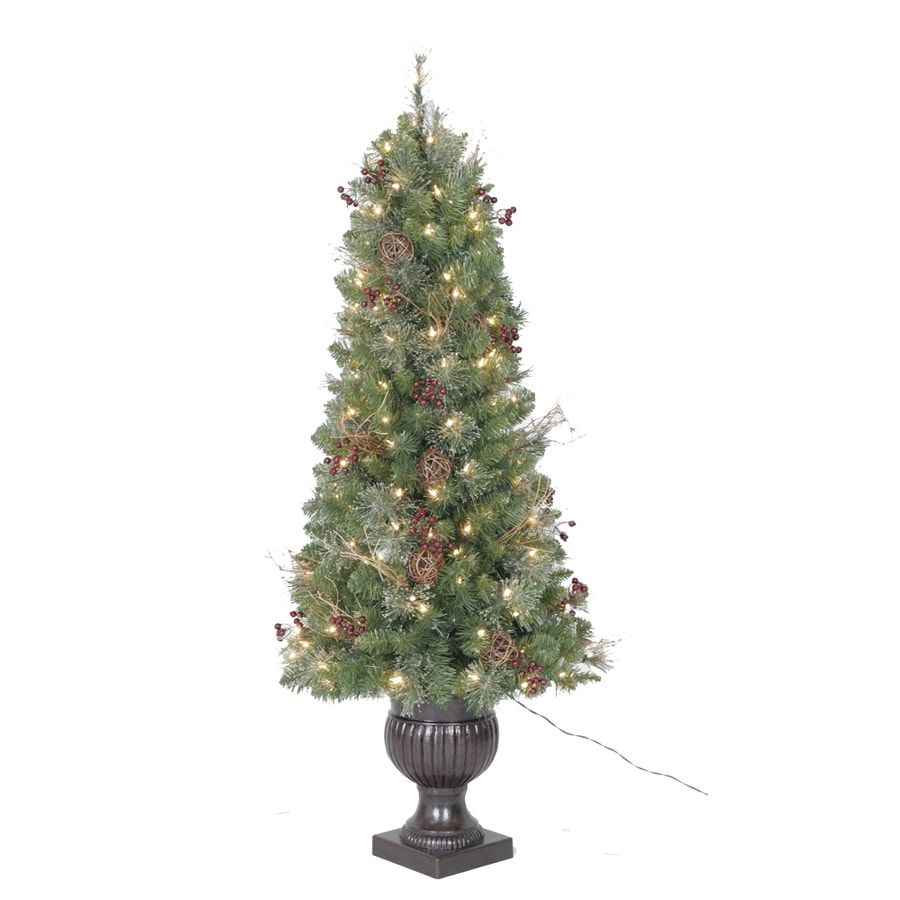 Holiday Living 5-ft Indoor/Outdoor Fir Pre-lit Decorative Artificial Tree with 150-Count Clear Lights