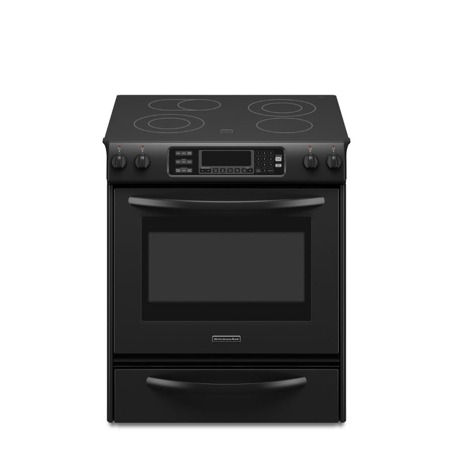 KitchenAid Architect II 30-in Smooth Surface 4.1-cu ft Self-Cleaning Slide-In Convection Electric Range (Black)