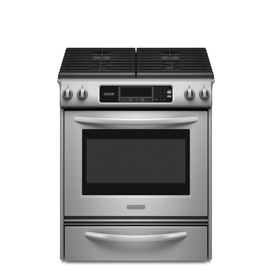 KitchenAid 4.1-cu ft Self-Cleaning Slide-In Gas Range (Stainless Steel) (Common: 30-in; Actual 30-in)