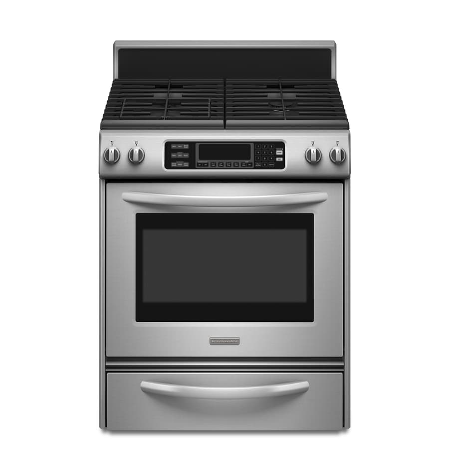 KitchenAid Freestanding 4.1-cu Self-Cleaning Convection Gas Range (Stainless Steel) (Common: 30-in; Actual: 30-in)
