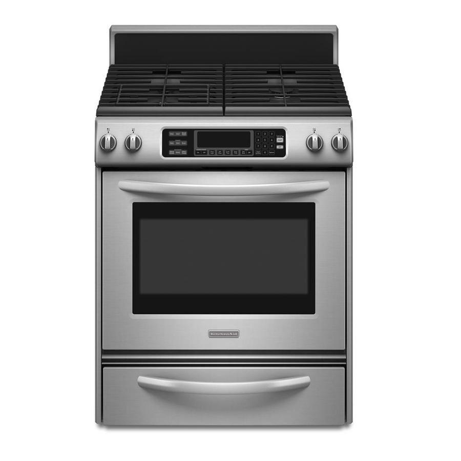 KitchenAid Architect Ii 4.1-cu ft Self-Cleaning Single Oven Dual Fuel Range (Stainless Steel) (Common: 30-in; Actual 30-in)