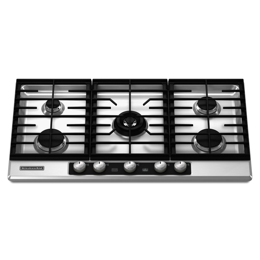 KitchenAid Architect II 5-Burner Gas Cooktop (Stainless) (Common: 36-in; Actual 36.25-in)