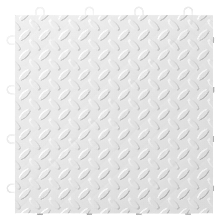 Gladiator 24-Piece 12-in x 12-in White Tread Plate Garage Floor Tile
