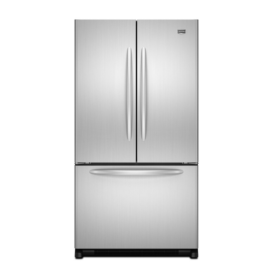 Maytag 24.8-cu ft French Door Refrigerator with Single Ice Maker (Monochromatic Stainless Steel) ENERGY STAR