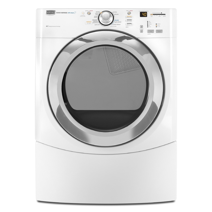 Maytag Performance 7.2-cu ft Stackable Electric Dryer with Steam Cycle (White)