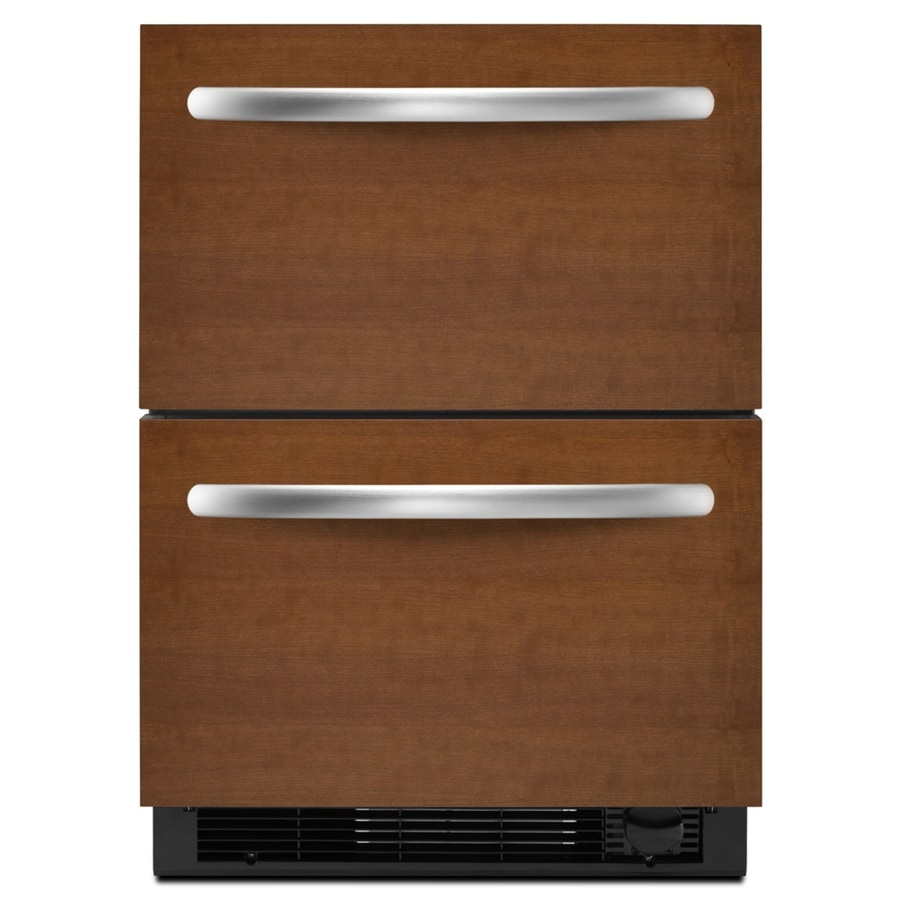 KitchenAid 23.75-in Built-In Double Drawer Refrigerator (Black Trim/Panel Ready)