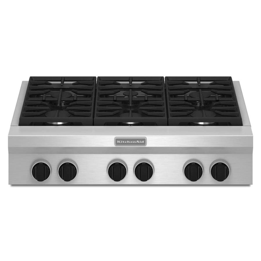 KitchenAid 6-Burner Gas Cooktop (Stainless Steel) (Common: 36-in; Actual: 35.938-in)