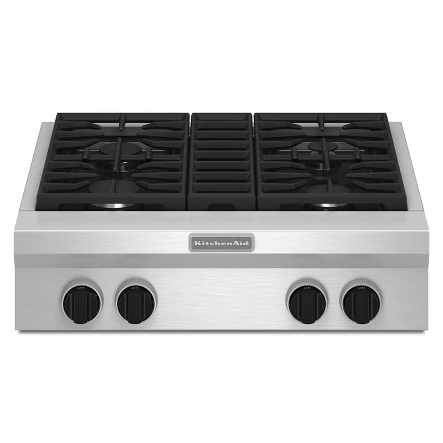 KitchenAid 4-Burner Gas Cooktop (Stainless Steel) (Common: 30-in; Actual: 29.625-in)