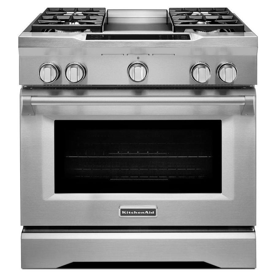 KitchenAid Self-Cleaning Convection Single Oven Dual Fuel Range (Stainless Steel) (Common: 36-in; Actual 35.75-in)