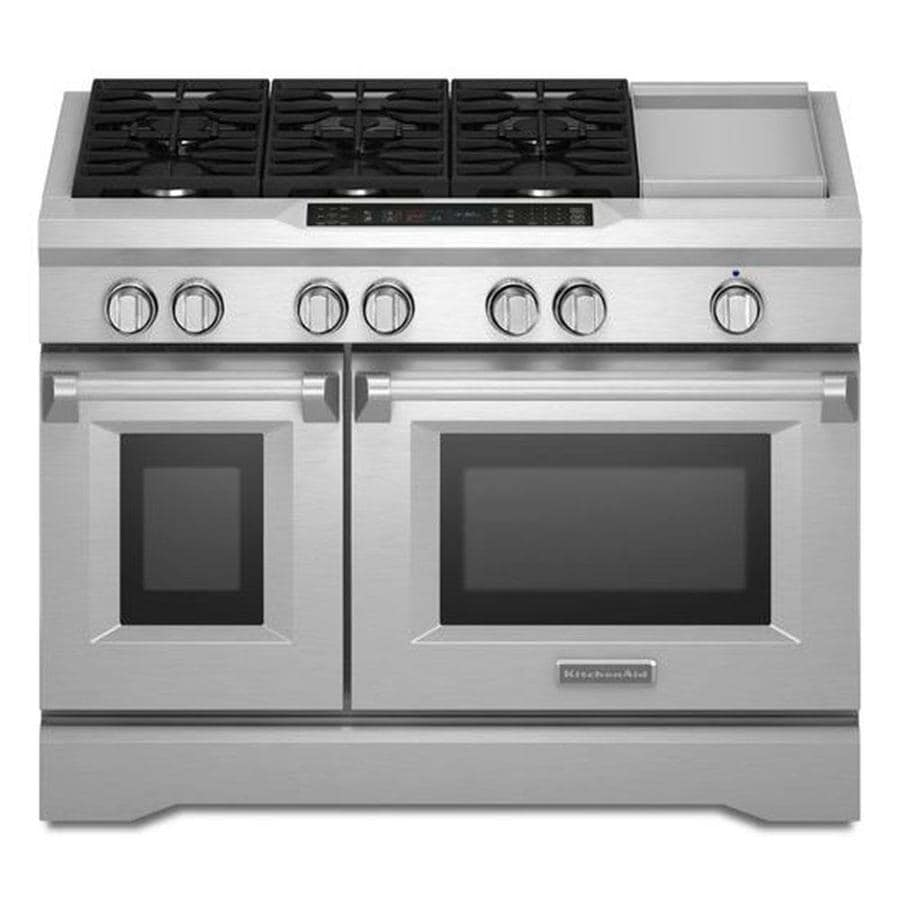 KitchenAid 48-in 6-Burner 4.1-cu ft/2.2-cu ft Double Oven Convection Dual Fuel Range (Stainless Steel)