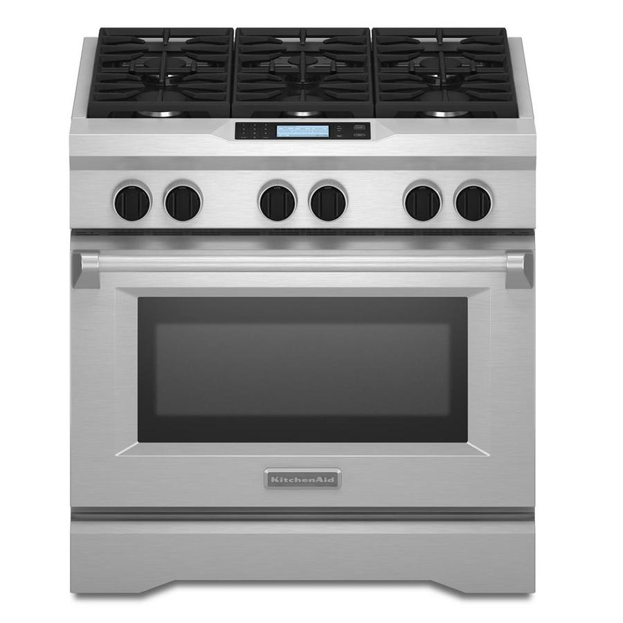 KitchenAid 6-Burner Self-Cleaning Convection Single Oven Dual Fuel Range (Stainless Steel) (Common: 36-in; Actual 35.75-in)