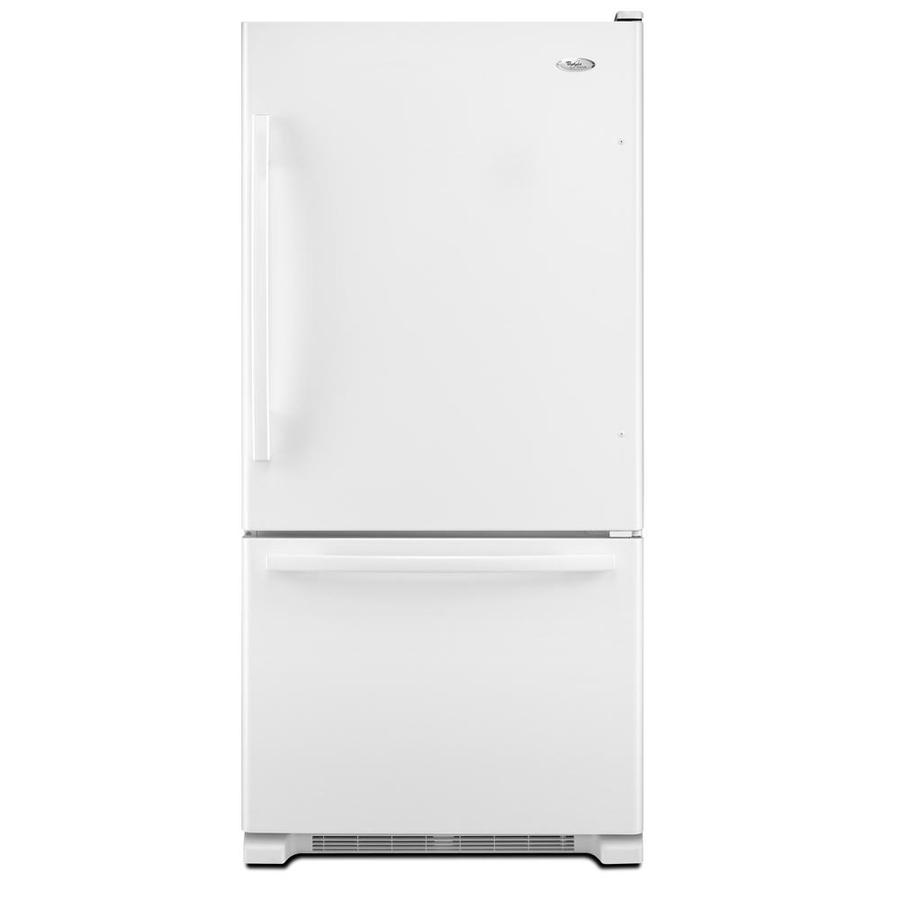 Whirlpool Gold 21.9-cu ft Bottom-Freezer Refrigerator with Single Ice Maker (White) ENERGY STAR