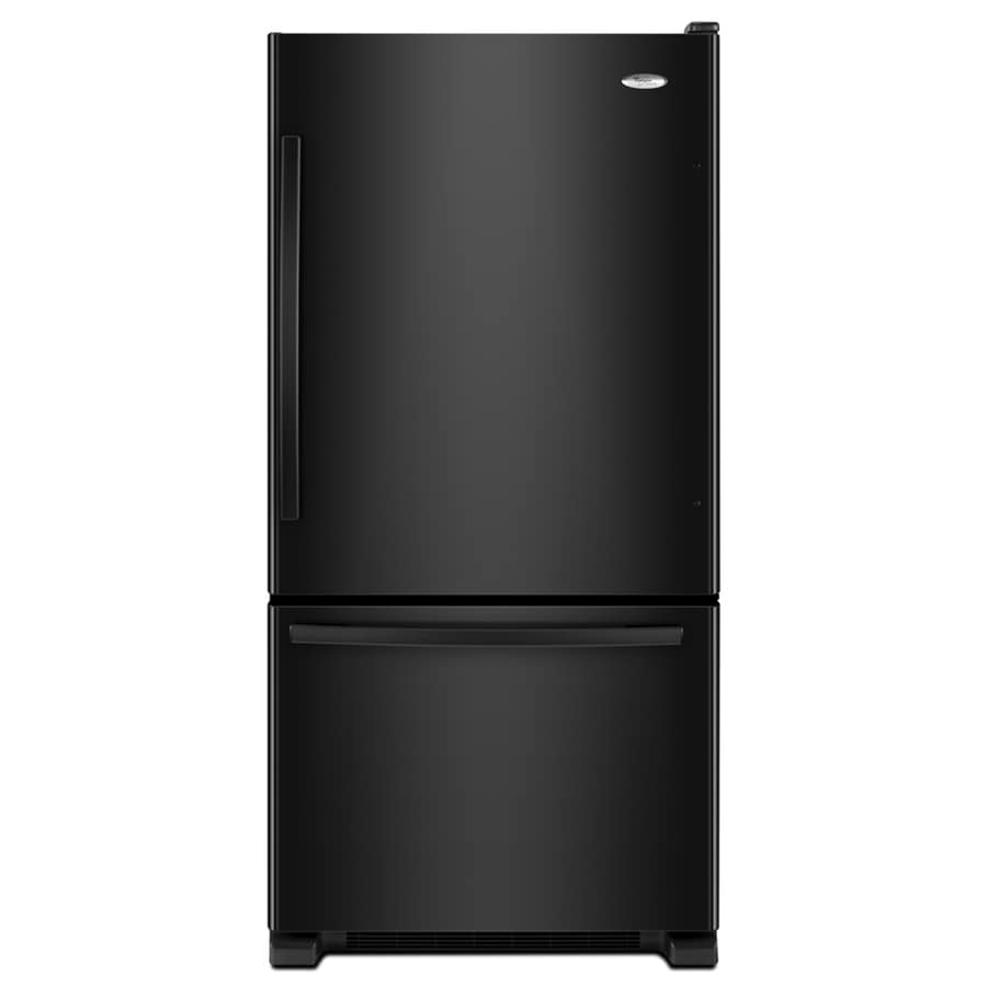 Whirlpool Gold 21.9-cu ft Bottom-Freezer Refrigerator with Single Ice Maker (Black) ENERGY STAR