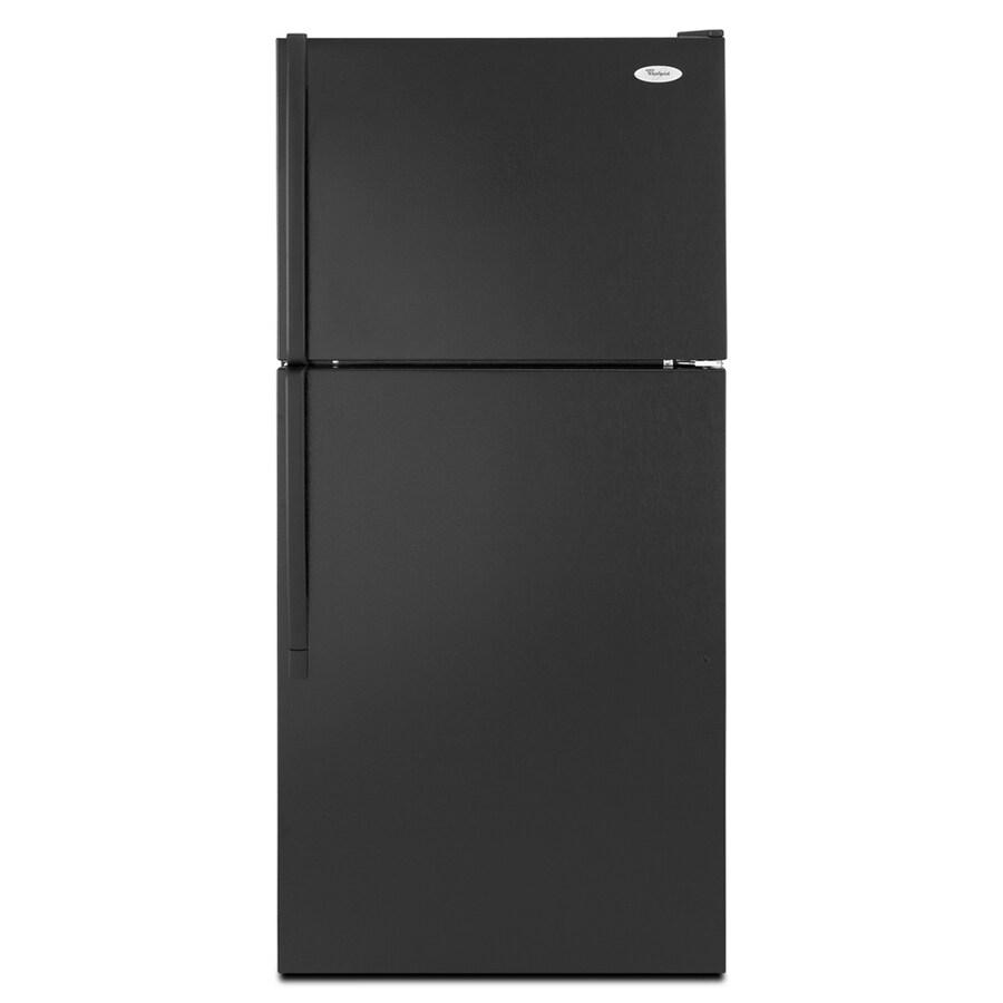 Whirlpool 17.6-cu ft Top-Freezer Refrigerator with Single Ice Maker (Black)